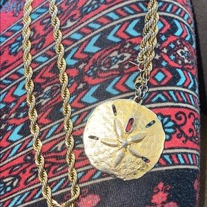 Gold rope chain Vtg sand dollar ocean luv necklace